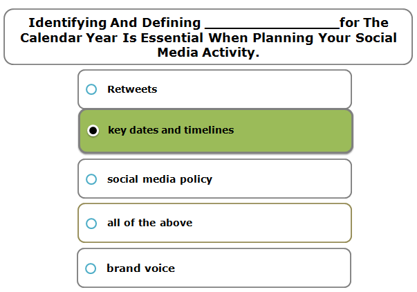 Identifying And Defining _______________for The Calendar Year Is Essential When Planning Your Social Media Activity.