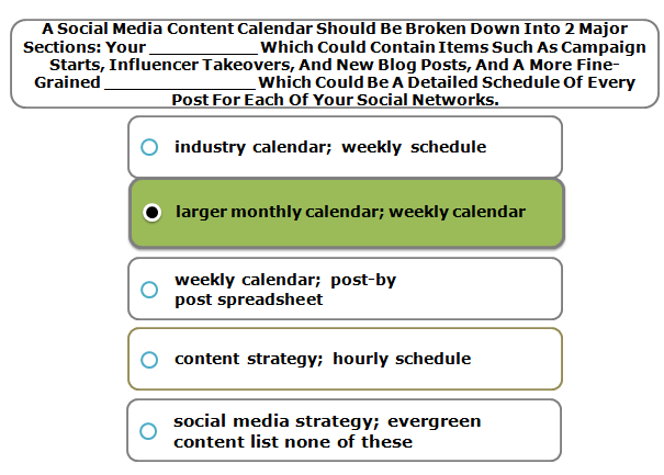 A Social Media Content Calendar Should Be Broken Down Into 2 Major Sections: Your __________ Which Could Contain Items Such As Campaign Starts, Influencer Takeovers, And New Blog Posts, And A More Fine-Grained ______________ Which Could Be A Detailed Schedule Of Every Post For Each Of Your Social Networks.