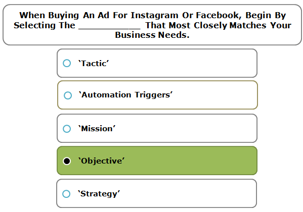 When Buying An Ad For Instagram Or Facebook, Begin By Selecting The ___________ That Most Closely Matches Your Business Needs.