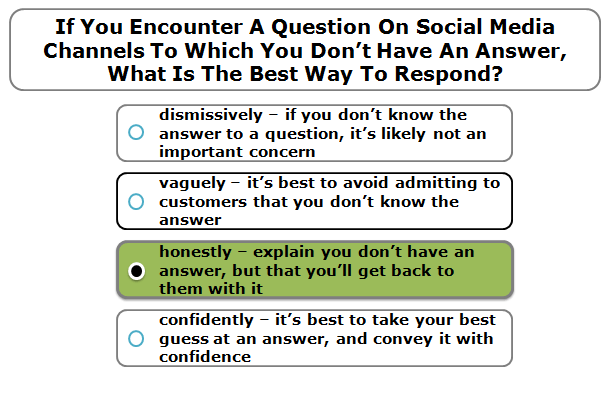 If You Encounter A Question On Social Media Channels To Which You Don't Have An Answer, What Is The Best Way To Respond?