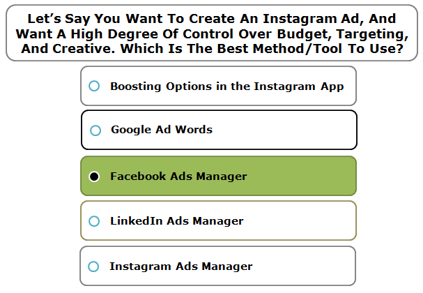 Let's Say You Want To Create An Instagram Ad, And Want A High Degree Of Control Over Budget, Targeting, And Creative. Which Is The Best Method/Tool To Use?