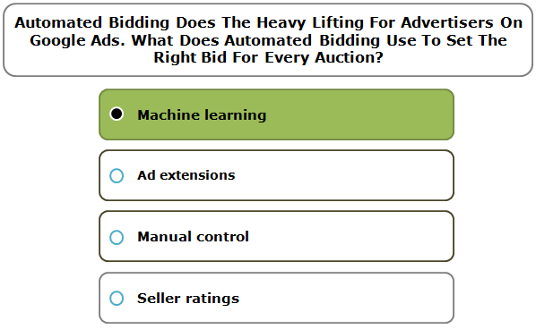 Automated Bidding Does The Heavy Lifting For Advertisers On Google Ads. What Does Automated Bidding Use To Set The Right Bid For Every Auction?