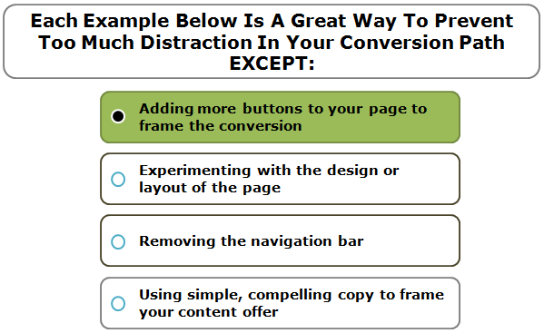 Each Example Below Is A Great Way To Prevent Too Much Distraction In Your Conversion Path EXCEPT: