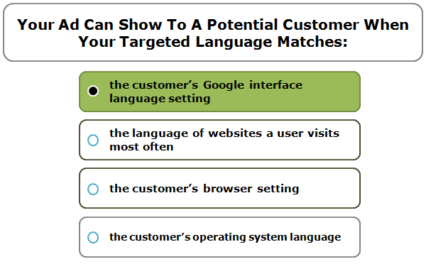Your Ad Can Show To A Potential Customer When Your Targeted Language Matches:
