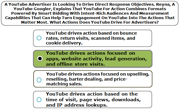 A YouTube Advertiser Is Looking To Drive Direct Response Objectives. Reyna, A YouTube Googler, Explains That YouTube For Action Combines Formats Powered By Smart Bidding With Intent-Rich Audiences And Measurement Capabilities That Can Help Turn Engagement On YouTube Into The Actions That Matter Most. What Actions Does YouTube Drive For Advertisers?
