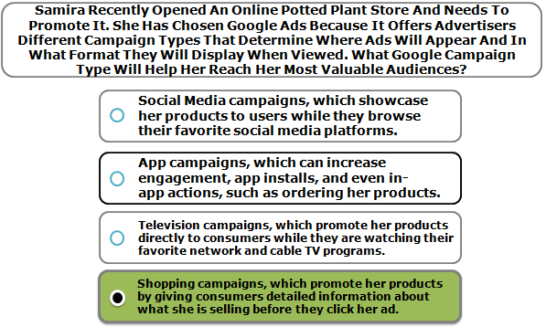 Samira Recently Opened An Online Potted Plant Store And Needs To Promote It. She Has Chosen Google Ads Because It Offers Advertisers Different Campaign Types That Determine Where Ads Will Appear And In What Format They Will Display When Viewed. What Google Campaign Type Will Help Her Reach Her Most Valuable Audiences?