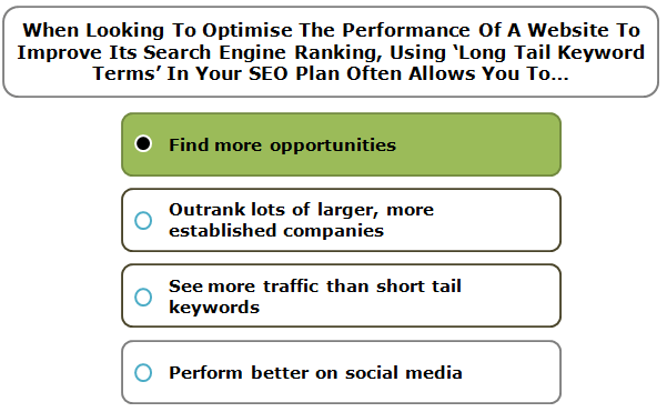 When Looking To Optimise The Performance Of A Website To Improve Its Search Engine Ranking, Using 'Long Tail Keyword Terms' In Your SEO Plan Often Allows You To…