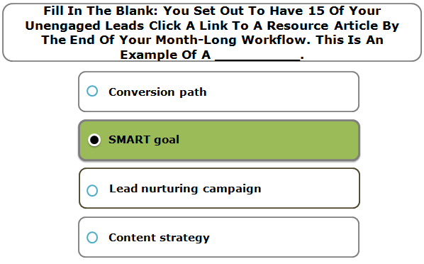 Fill In The Blank: You Set Out To Have 15 Of Your Unengaged Leads Click A Link To A Resource Article By The End Of Your Month-Long Workflow. This Is An Example Of A __________.