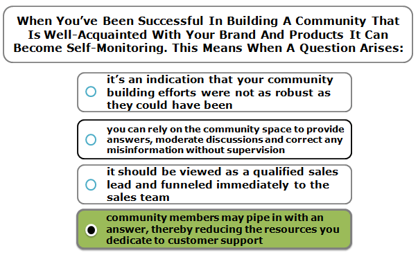 When You've Been Successful In Building A Community That Is Well-Acquainted With Your Brand And Products It Can Become Self-Monitoring. This Means When A Question Arises: