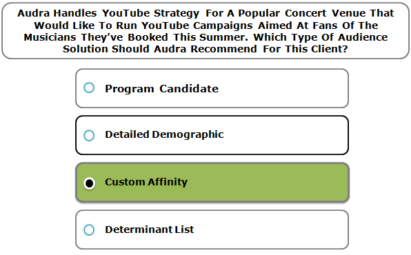 Audra Handles YouTube Strategy For A Popular Concert Venue That Would Like To Run YouTube Campaigns Aimed At Fans Of The Musicians They've Booked This Summer. Which Type Of Audience Solution Should Audra Recommend For This Client?