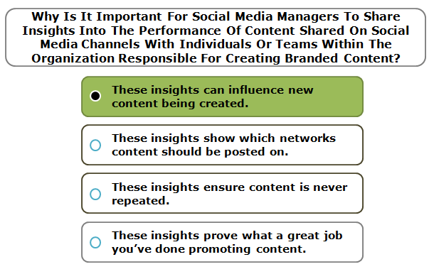 Why Is It Important For Social Media Managers To Share Insights Into The Performance Of Content Shared On Social Media Channels With Individuals Or Teams Within The Organization Responsible For Creating Branded Content?