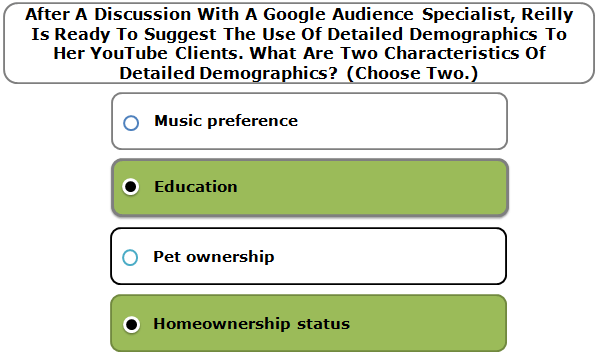 After A Discussion With A Google Audience Specialist, Reilly Is Ready To Suggest The Use Of Detailed Demographics To Her YouTube Clients. What Are Two Characteristics Of Detailed Demographics? (Choose Two.)