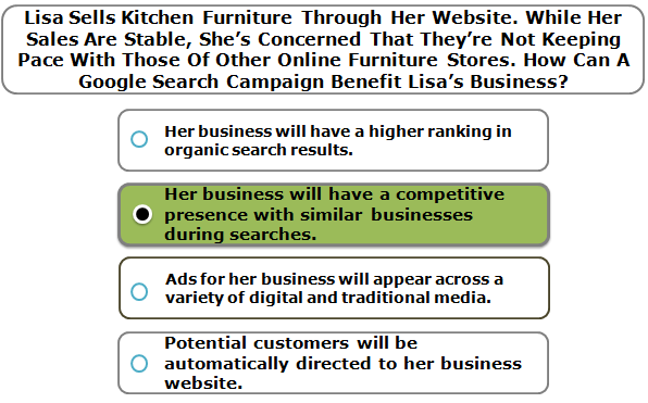 Lisa Sells Kitchen Furniture Through Her Website. While Her Sales Are Stable, She's Concerned That They're Not Keeping Pace With Those Of Other Online Furniture Stores. How Can A Google Search Campaign Benefit Lisa's Business?