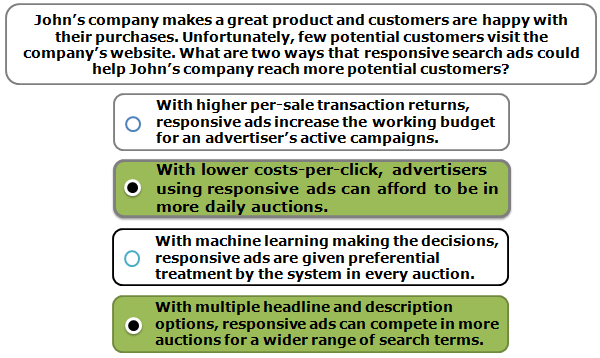 John's company makes a great product and customers are happy with their purchases. Unfortunately, few potential customers visit the company's website. What are two ways that responsive search ads could help John's company reach more potential customers?