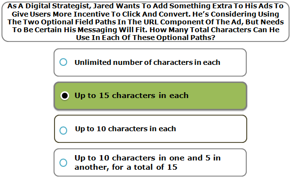As A Digital Strategist, Jared Wants To Add Something Extra To His Ads To Give Users More Incentive To Click And Convert. He's Considering Using The Two Optional Field Paths In The URL Component Of The Ad, But Needs To Be Certain His Messaging Will Fit. How Many Total Characters Can He Use In Each Of These Optional Paths?