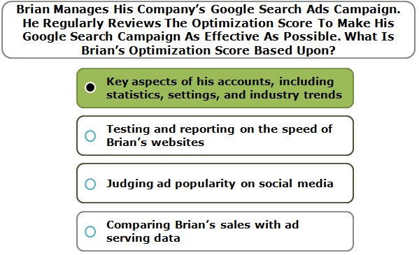 Brian Manages His Company's Google Search Ads Campaign. He Regularly Reviews The Optimization Score To Make His Google Search Campaign As Effective As Possible. What Is Brian's Optimization Score Based Upon?
