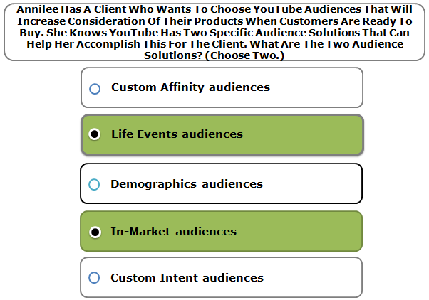 Annilee Has A Client Who Wants To Choose YouTube Audiences That Will Increase Consideration Of Their Products When Customers Are Ready To Buy. She Knows YouTube Has Two Specific Audience Solutions That Can Help Her Accomplish This For The Client. What Are The Two Audience Solutions? (Choose Two.)
