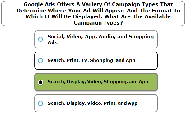 Google Ads Offers A Variety Of Campaign Types That Determine Where Your Ad Will Appear And The Format In Which It Will Be Displayed. What Are The Available Campaign Types?