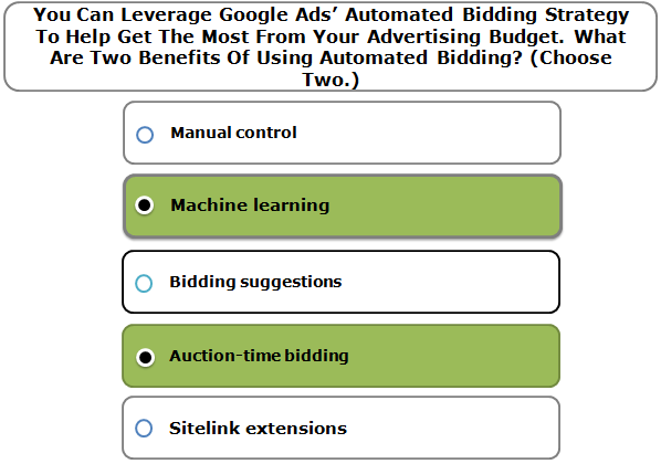 You Can Leverage Google Ads' Automated Bidding Strategy To Help Get The Most From Your Advertising Budget. What Are Two Benefits Of Using Automated Bidding? (Choose Two.)