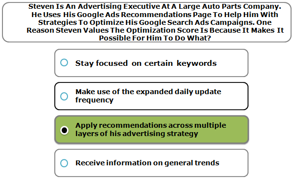 Steven Is An Advertising Executive At A Large Auto Parts Company. He Uses His Google Ads Recommendations Page To Help Him With Strategies To Optimize His Google Search Ads Campaigns. One Reason Steven Values The Optimization Score Is Because It Makes It Possible For Him To Do What?