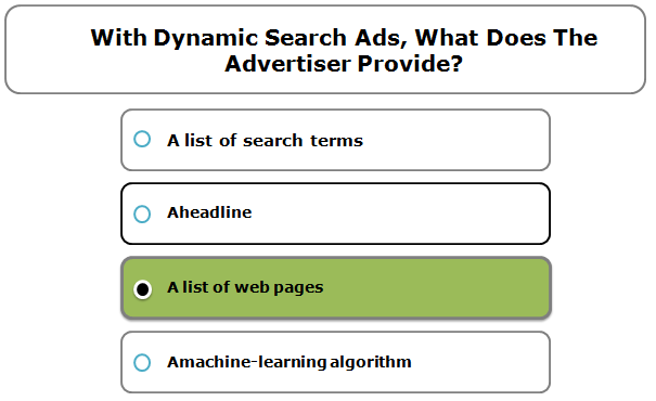 With Dynamic Search Ads, What Does The Advertiser Provide?