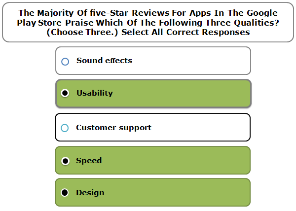 The Majority Of five-Star Reviews For Apps In The Google Play Store Praise Which Of The Following Three Qualities? (Choose Three.) Select All Correct Responses