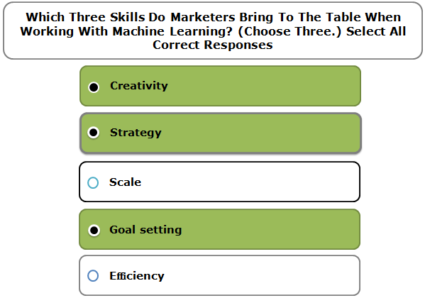 Which Three Skills Do Marketers Bring To The Table When Working With Machine Learning? (Choose Three.) Select All Correct Responses