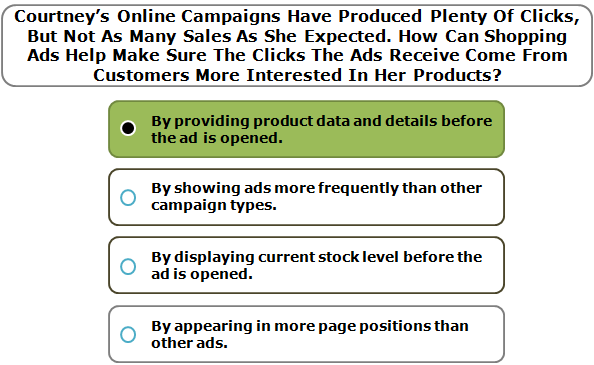 Courtney's Online Campaigns Have Produced Plenty Of Clicks, But Not As Many Sales As She Expected. How Can Shopping Ads Help Make Sure The Clicks The Ads Receive Come From Customers More Interested In Her Products?
