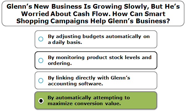 Glenn's New Business Is Growing Slowly, But He's Worried About Cash Flow. How Can Smart Shopping Campaigns Help Glenn's Business?