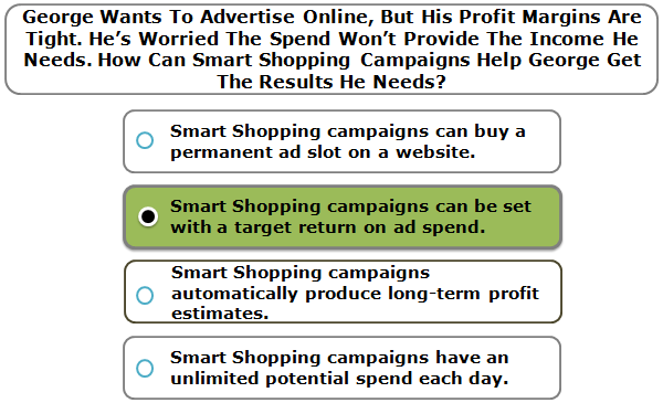 George Wants To Advertise Online, But His Profit Margins Are Tight. He's Worried The Spend Won't Provide The Income He Needs. How Can Smart Shopping Campaigns Help George Get The Results He Needs?
