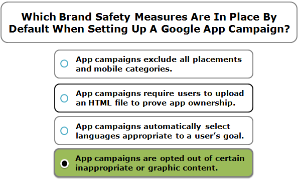 Which Brand Safety Measures Are In Place By Default When Setting Up A Google App Campaign?