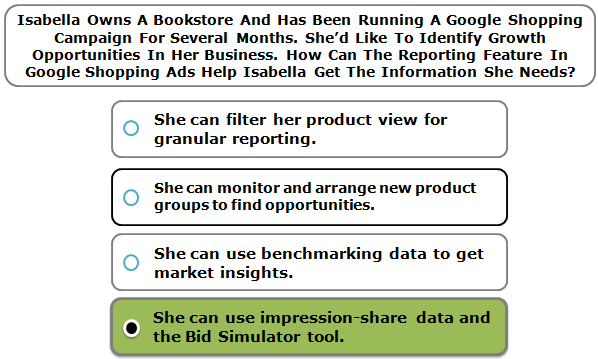 Isabella Owns A Bookstore And Has Been Running A Google Shopping Campaign For Several Months. She'd Like To Identify Growth Opportunities In Her Business. How Can The Reporting Feature In Google Shopping Ads Help Isabella Get The Information She Needs?