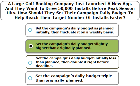 A Large Golf Booking Company Just Launched A New App, And They Want To Drive 50,000 Installs Before Peak Season Hits. How Should They Set Their Campaign Daily Budget To Help Reach Their Target Number Of Installs Faster?