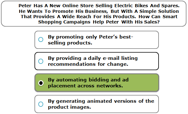 Peter Has A New Online Store Selling Electric Bikes And Spares. He Wants To Promote His Business, But With A Simple Solution That Provides A Wide Reach For His Products. How Can Smart Shopping Campaigns Help Peter With His Sales?