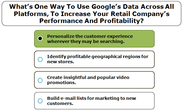 What's One Way To Use Google's Data Across All Platforms, To Increase Your Retail Company's Performance And Profitability?