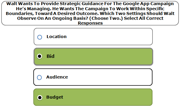 Walt Wants To Provide Strategic Guidance For The Google App Campaign He's Managing. He Wants The Campaign To Work Within Specific Boundaries, Toward A Desired Outcome. Which Two Settings Should Walt Observe On An Ongoing Basis? (Choose Two.) Select All Correct Responses