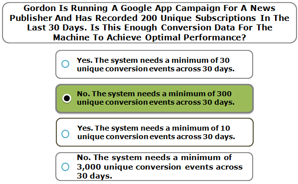 Gordon Is Running A Google App Campaign For A News Publisher And Has Recorded 200 Unique Subscriptions In The Last 30 Days. Is This Enough Conversion Data For The Machine To Achieve Optimal Performance?