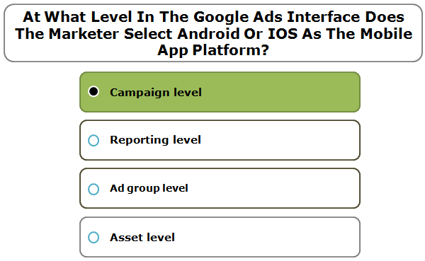 At What Level In The Google Ads Interface Does The Marketer Select Android Or IOS As The Mobile App Platform?