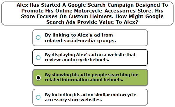 Alex Has Started A Google Search Campaign Designed To Promote His Online Motorcycle Accessories Store. His Store Focuses On Custom Helmets. How Might Google Search Ads Provide Value To Alex?
