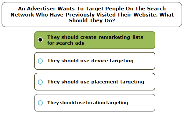 An advertiser wants to target people on the Search Network who have previously visited their website. What should they do?