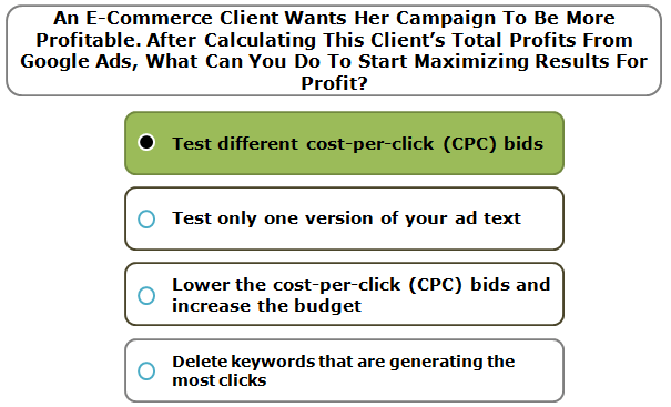 An e–commerce client wants her campaign to be more profitable. After calculating this client's total profits from AdWords, what can you do to start maximizing results for profit?