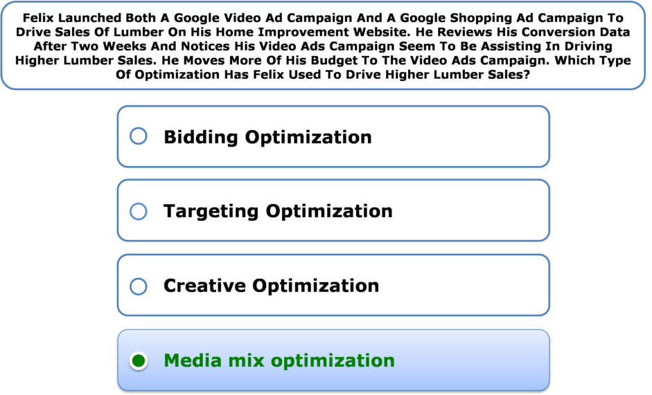 Felix launched both a Google Video Ad campaign and a Google Shopping Ad campaign to drive sales of lumber on his home improvement website. He reviews his conversion data after two weeks and notices his video ads campaign seem to be assisting in driving higher lumber sales. He moves more of his budget to the Video Ads campaign. Which type of optimization has Felix used to drive higher lumber sales?
