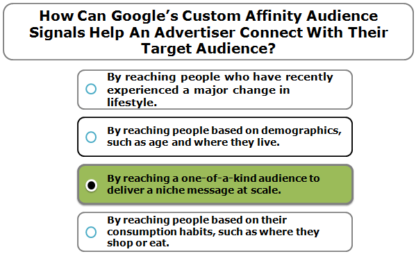 How can Google's Custom Affinity audience signals help an advertiser connect with their target audience?