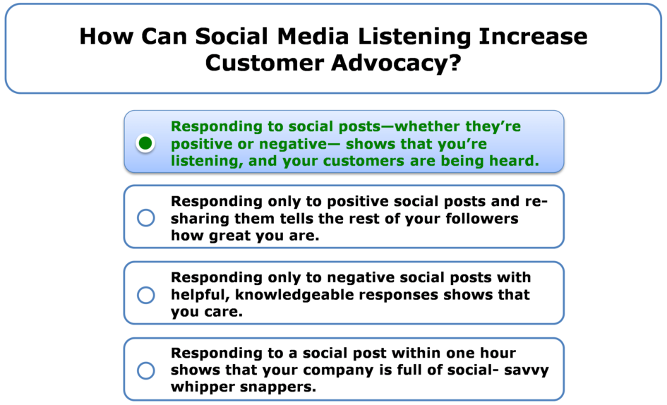 How can social media listening increase customer advocacy?