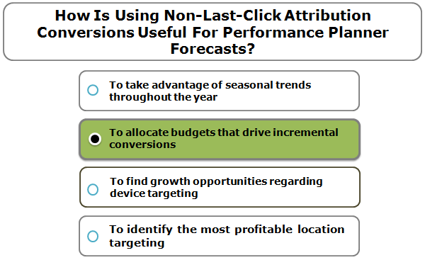 How is using non-last-click attribution conversions useful for Performance Planner forecasts?