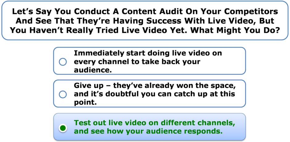 Let's say you conduct a content audit on your competitors and see that they're having success with live video, but you haven't really tried live video yet. What might you do?