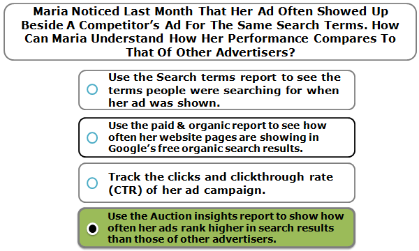 Maria noticed last month that her ad often showed up beside a competitor's ad for the same search terms. How can Maria understand how her performance compares to that of other advertisers?