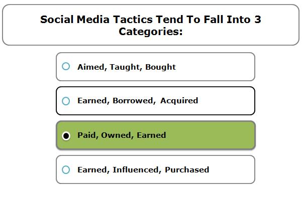 Social media tactics tend to fall into 3 categories: