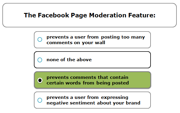 The Facebook page moderation Feature: