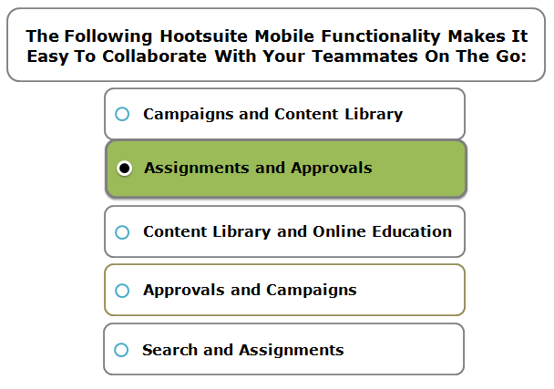 The following Hootsuite Mobile functionality makes it easy to collaborate with your teammates on the go:
